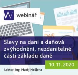 Slevy na dani a daňová zvýhodnění, nezdanitelné části základu daně - webinář