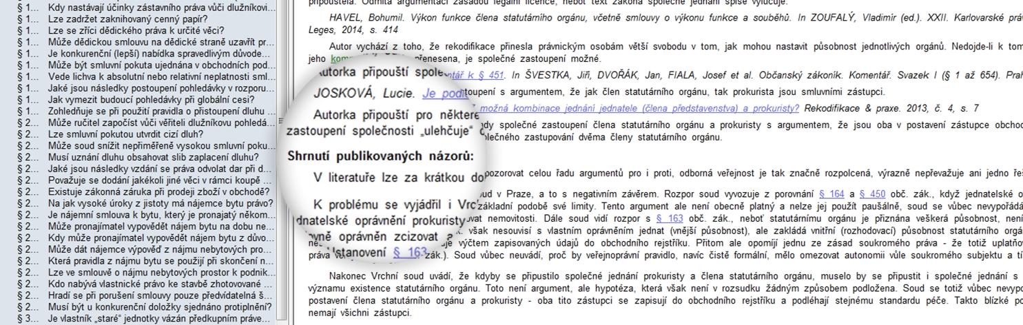 Občanský zákoník: Srovnávací komentář-shrnutí publikovaných názorů