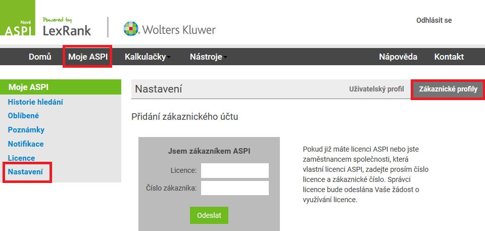 ASPI přiřazení licence