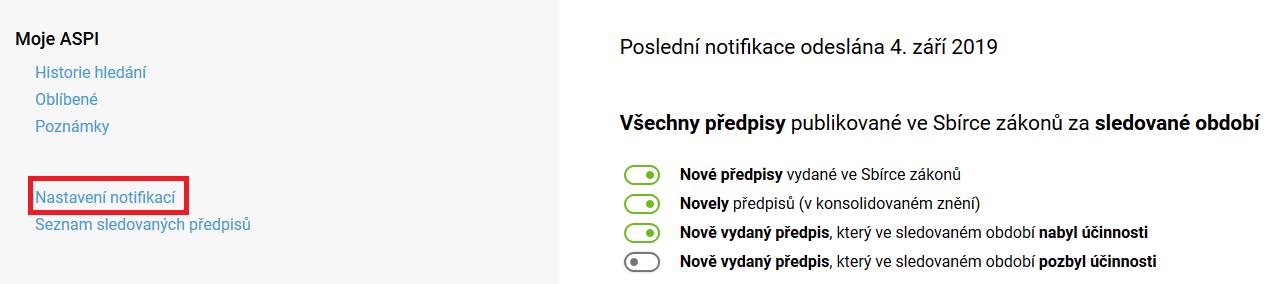 Moje ASPI nastavení notifikací