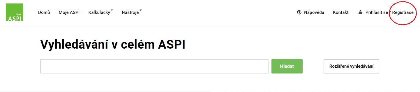 ASPI online home registrace