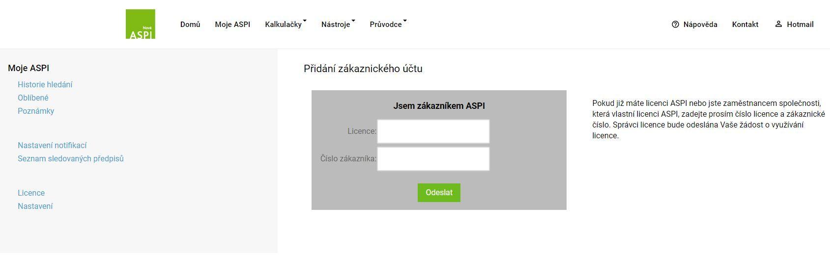 Přiřazení obsahu licence ASPI